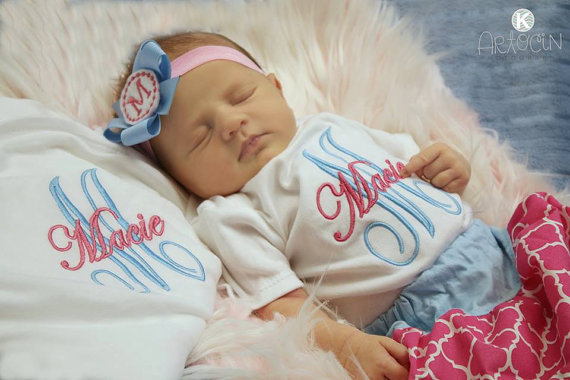 Monogrammed Hot Pink & Blue Onesie, Skirt & Headband Outfit Set