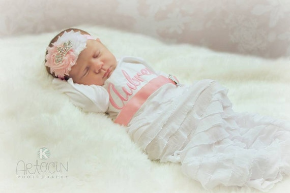 Personalized newborn girl take home outfit gown headband set