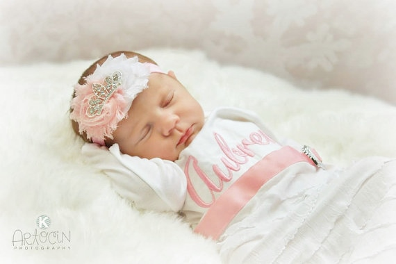 Personalized Newborn Girl Take Home Outfit Gown & Headband Set