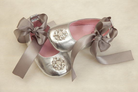 Baby Girl Silver Shoes Silver Ribbon Tie Shoes With Rhinestone