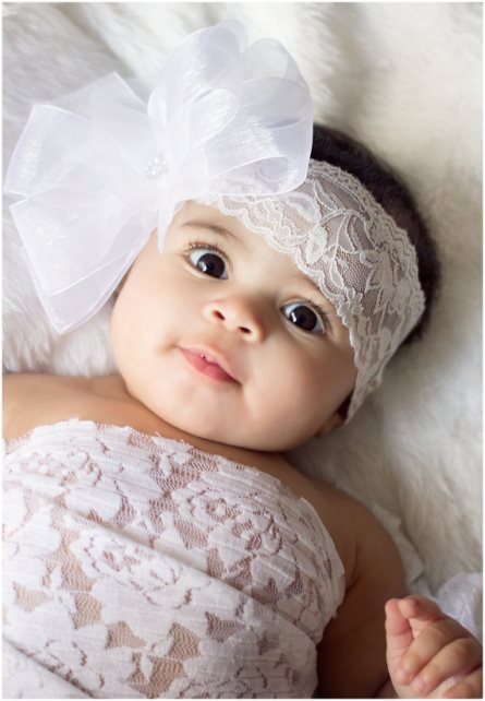 White Double Layered Sheer Hair Bow on Lace Headband