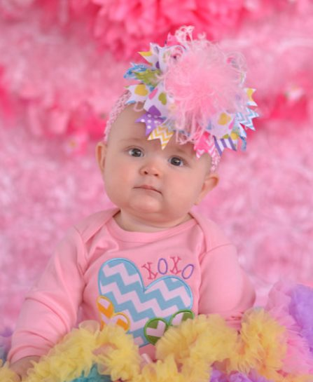 Pastel Conversation Hearts Over the Top Hair Bow Headband