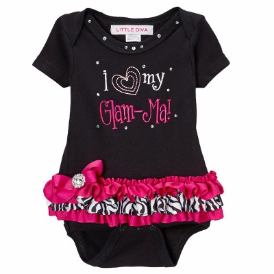 I Love My Glam-Ma Black & Hot Pink Tutu Onesie