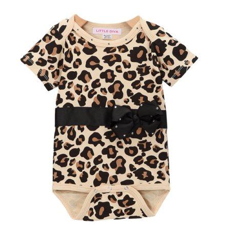 Black & Leopard Print Bling Bow Onesie