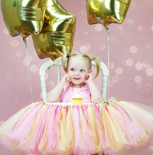 Baby Girls 1st Birthday Pink & Gold High Chair Tutu Banner