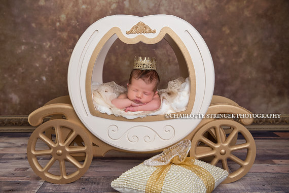 Gold Lace Newborn Crown with Swarovski Crystals