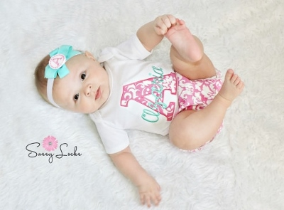 ebef6ad35 Hot Pink   Aqua Damask Personalized 3pc. Infant Outfit Set