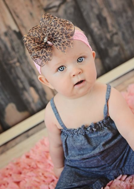 Sheer Leopard Pink Lace Rhinestone Hair Bow Headband