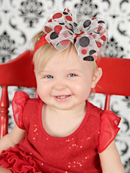 Shimmer Black & Red Dot Double Layered Sheer Hair Bow on Lace Headband