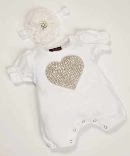 White Rhinestone Heart Bubble Romper & Headband Outfit Set