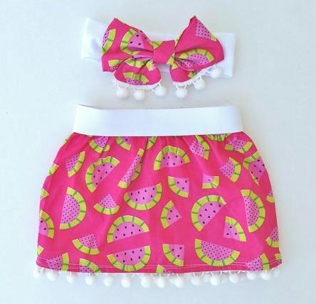 Hot Pink Pom Pom Watermelon Skirt & Headband Set