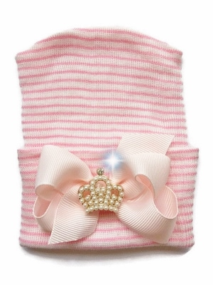 Newborn Couture Hospital Hat with Bow & Pearl Crown