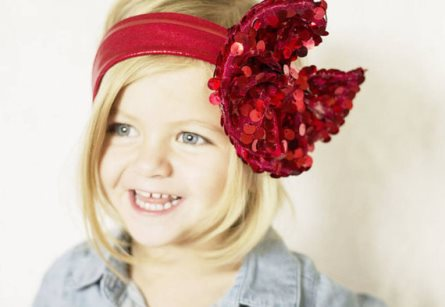 Red Sequin Sparkle Messy Bow Head Wrap