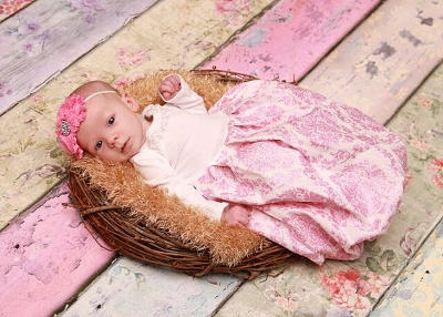 Pink & White Scroll Newborn Layette Infant Gown