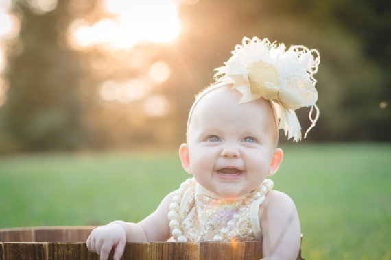 Ivory and Gold Over the Top Hair Bow Headband