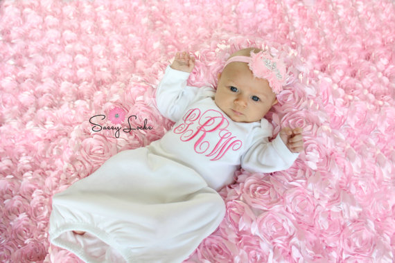 White & Pink Monogrammed Layette Gown & Headband Set
