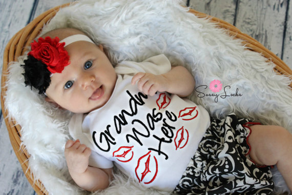 Grandma Was Here Kissy Lips 3pc. Damask Infant Outfit Set