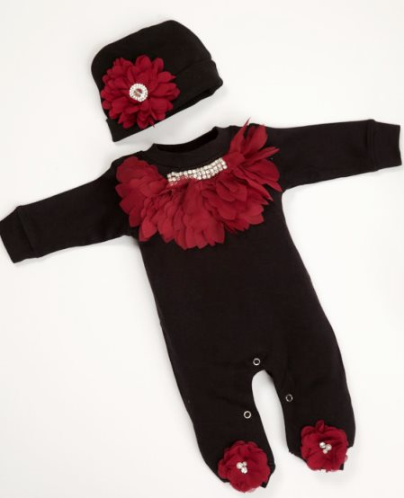 Baby Girl Romper Infant Black Cotton Romper with Burgundy Chiffon Rhinestone Collar & Matching Hat