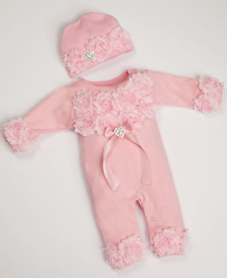 cbb22da2c53 Pink Baby Girl Romper Infant One Piece Set with Shabby Chiffon Flowers   Matching  Hat
