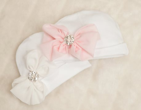White Infant Baby Girl Newborn Beanie Hospital Hat with Rhinestone Chiffon Bow
