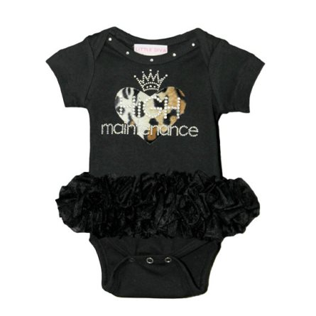 High Maintenance Leopard Heart Black Bling Tutu Onesie