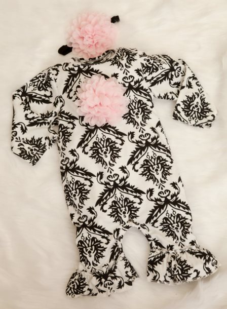 Black & Off White Damask Infant Layette Cotton Baby Romper with Large Chiffon On The Chest & Matching Headband