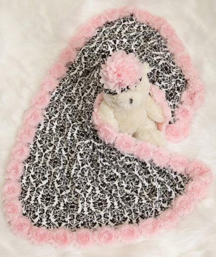 Baby Girl Black & Pink Damask Receiving Blanket with Matching Hat