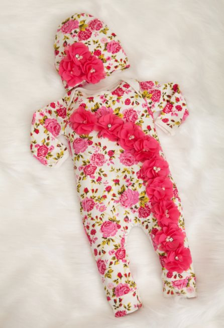 Hot Pink Floral Infant Layette Cotton Baby Romper with Chiffon Flowers & Matching Hat