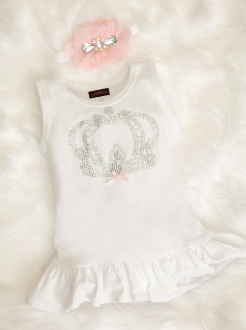 Baby Girl Cotton White Dress with Rhinestone Bling Royal Crown & Headband Set