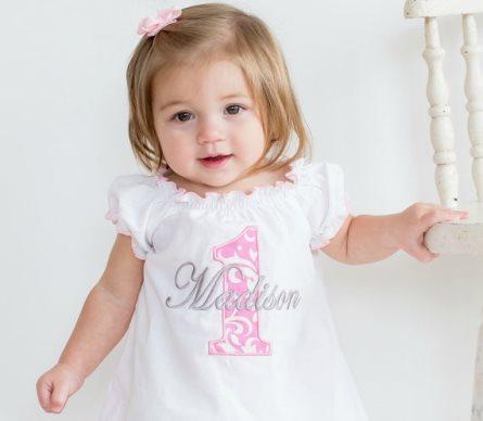 Baby Girl 1st Birthday Pink Damask Personalized Birthday Dress