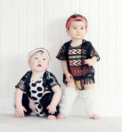 Black Lace Fringe Baby Girl Kimono