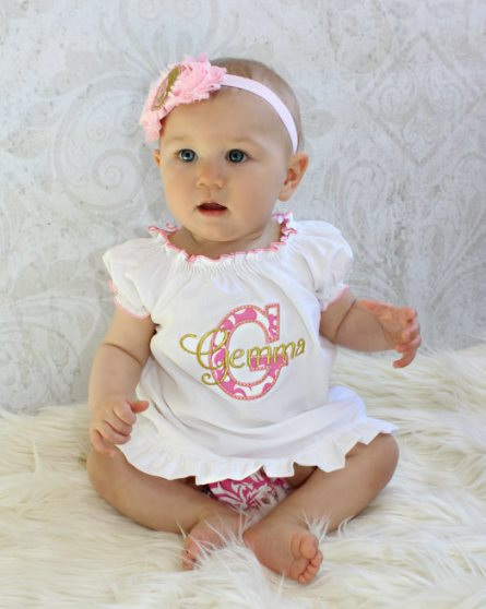Pink & Gold Damask Personalized Baby Girl Dress Outfit Set