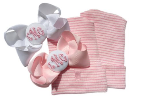 TWINS Newborn Hospital Personalized Monogram Hat Set
