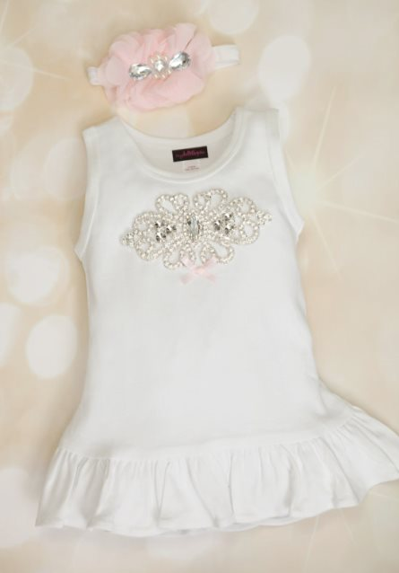 Toddler White Cotton Big Rhinestone Dress with Matching Headband