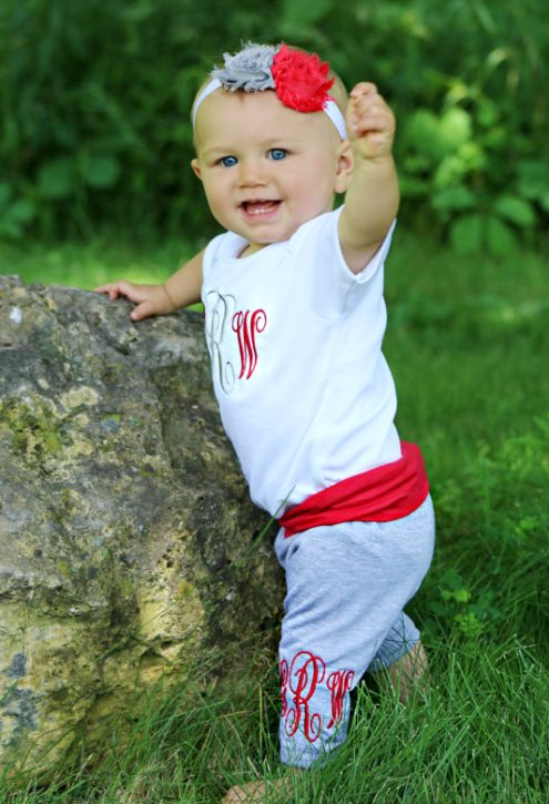 Red & Grey Monogrammed Bodysuit & Leggings Outfit Set with Matching Headband