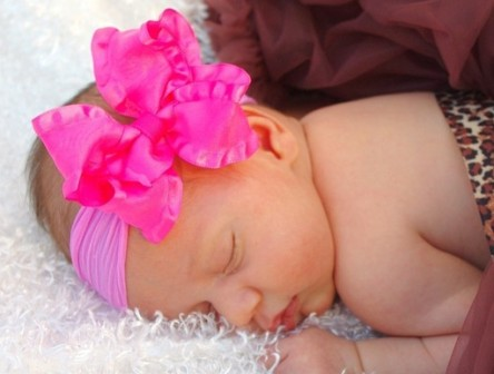 Hot Pink Double Ruffle Nylon Infant Hair Bow Headband