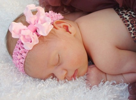 Small Light Pink Double Ruffle Bow Headband