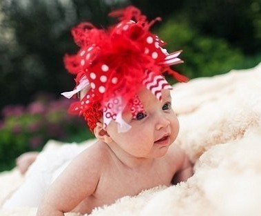 Red and White Polka Dot Over the Top Hair Bow Headband