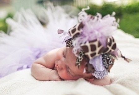 Lavender Purple Giraffe Over the Top Hair Bow Headband