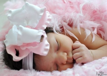 Light Pink & White Double Ruffle Hair Bow Nylon Headband