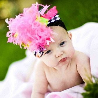Hot Pink Green and Black Over the Top Hair Bow Headband