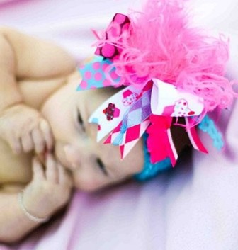 Hot Pink Brown and Turquoise Cupcake Birthday Over the Top Hair Bow Headband