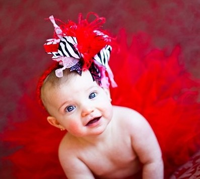 Valentine Zebra Over the Top Hair Bow Headband