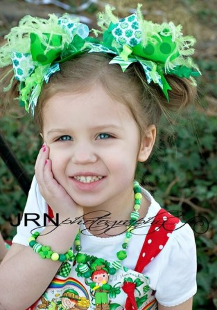 St. Patrick's Pigtail Set Shades of Green Shamrock Over the Top Hair Bows