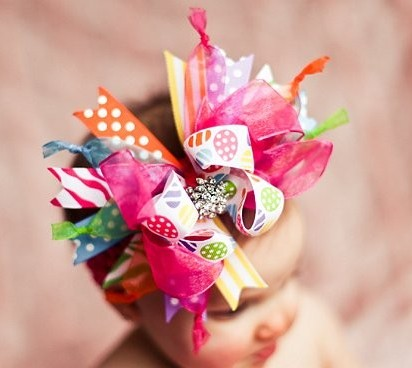 Bright Color Easter Eggs Over The Top Hair Bow Headband