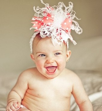 Coral and White Over the Top Hair Bow Headband