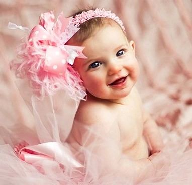 Sweet Baby Pink Over The Top Hair Bow Headband