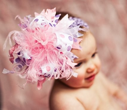 Pink and Lavender Over The Top Hair Bow Headband