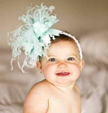 Aqua and White Over the Top Hair Bow Headband