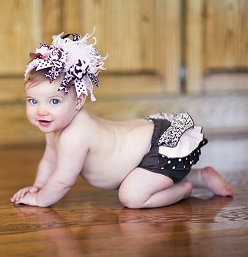Light Pink & Brown Damask Ruffle Bloomers